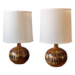Pair of Mid Century Drip Glazed Pottery Lamps