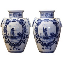 Pair of Mid-Century Dutch Blue and White Painted Faience Delft Vases