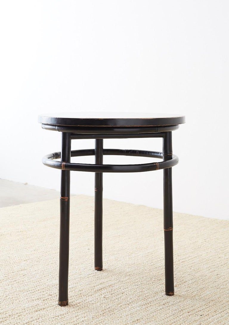Pair of Midcentury Ebonized Bamboo Round Drinks Table For Sale 4