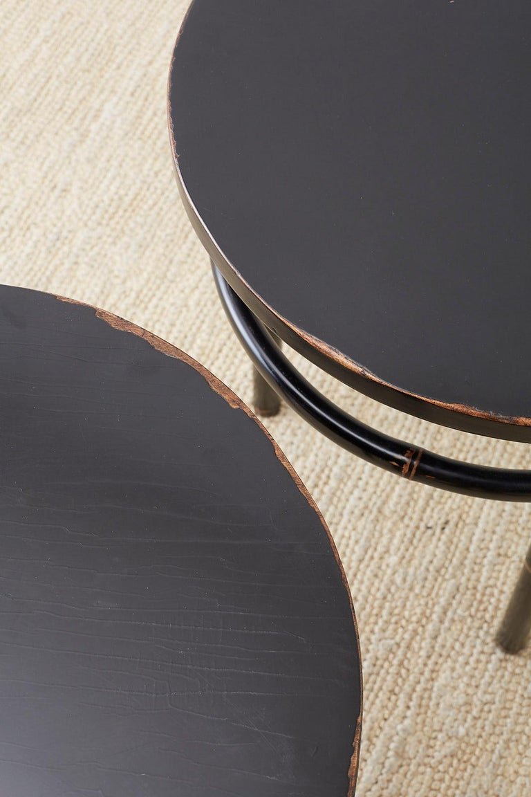 Pair of Midcentury Ebonized Bamboo Round Drinks Table For Sale 5