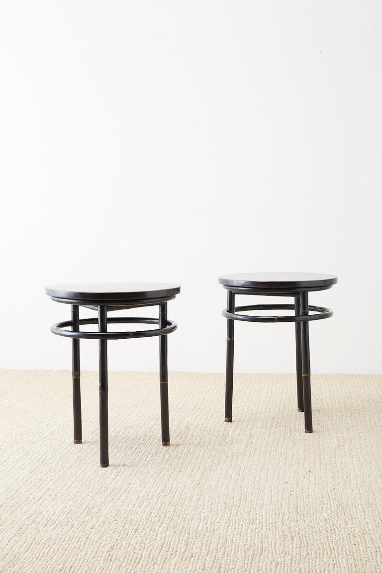 Pair of Midcentury Ebonized Bamboo Round Drinks Table For Sale 7