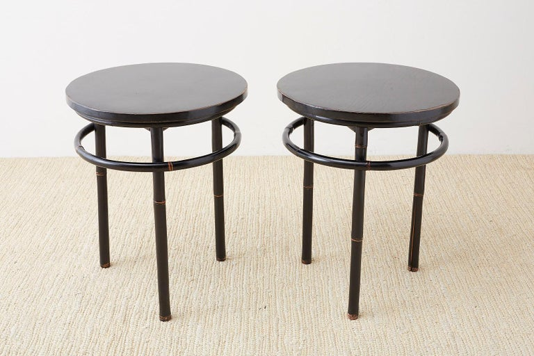Asian Pair of Midcentury Ebonized Bamboo Round Drinks Table For Sale