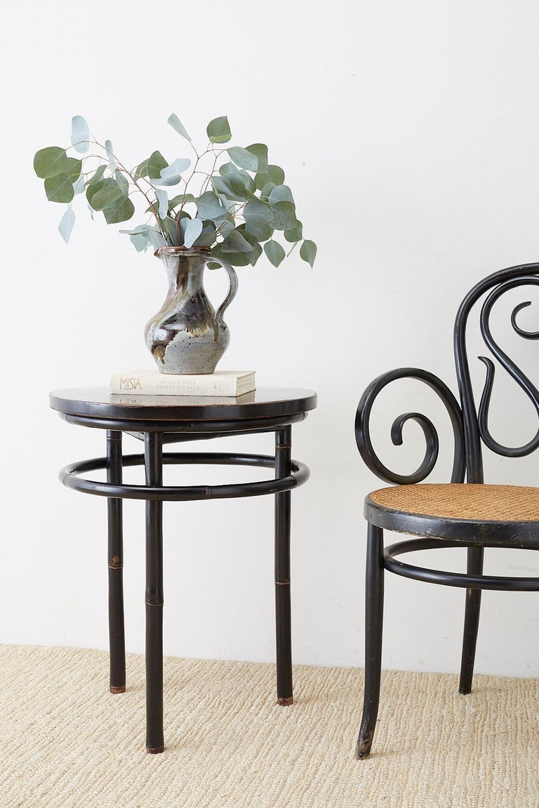 Pair of Midcentury Ebonized Bamboo Round Drinks Table In Good Condition For Sale In Oakland, CA