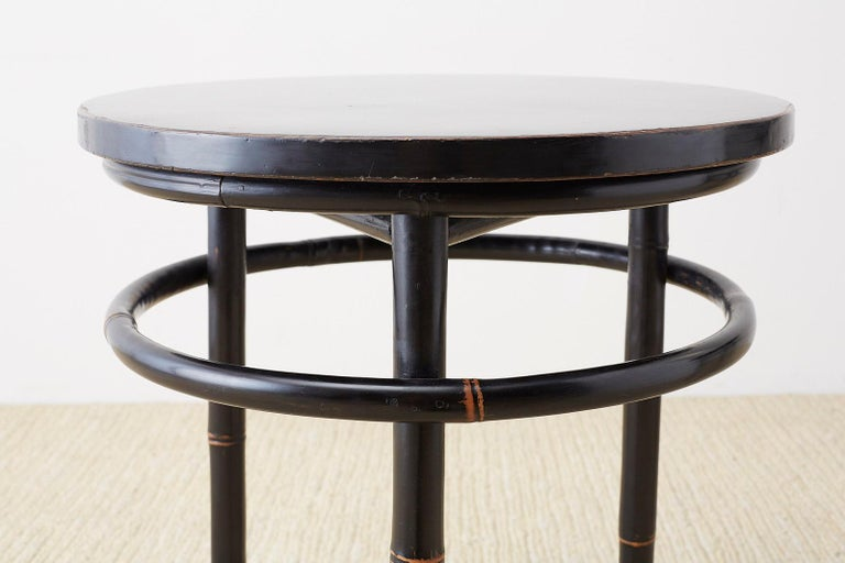 20th Century Pair of Midcentury Ebonized Bamboo Round Drinks Table For Sale