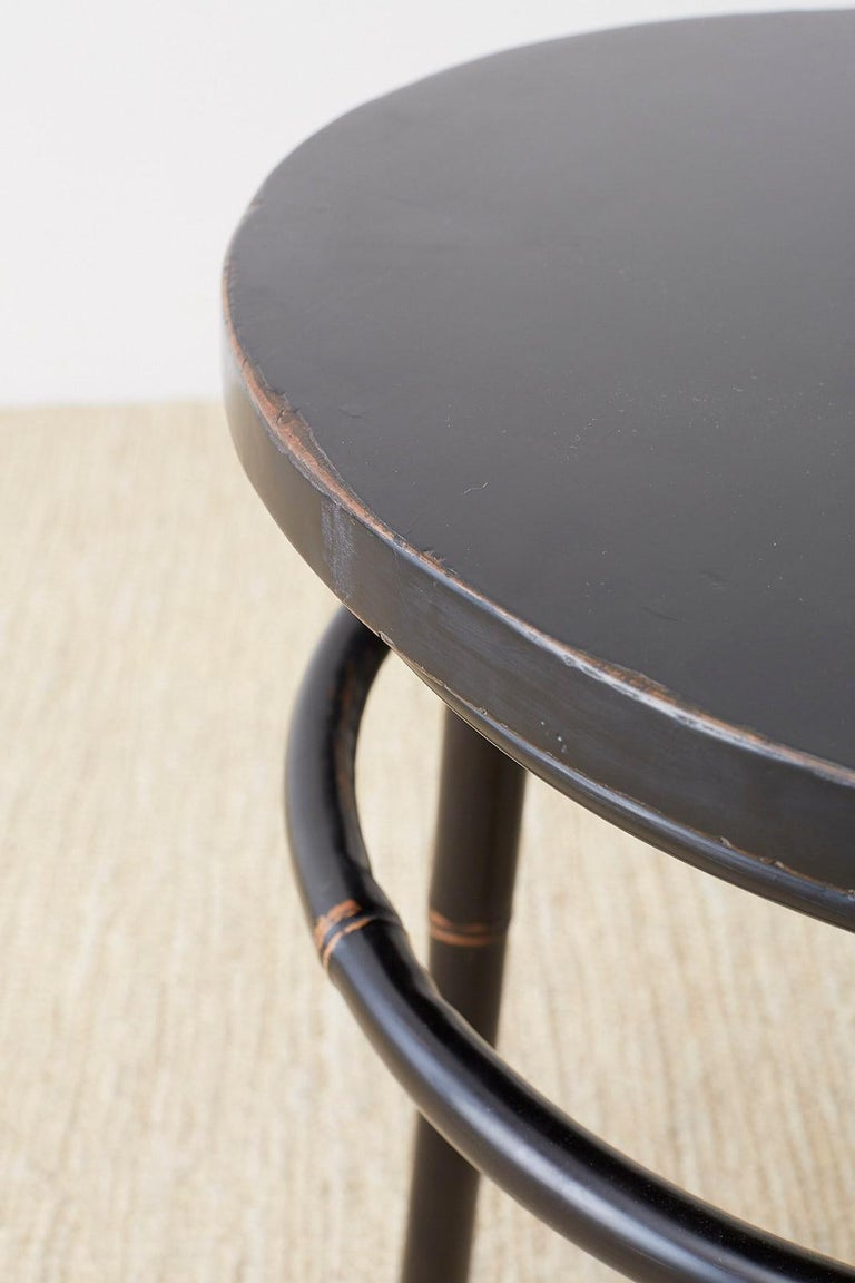 Pair of Midcentury Ebonized Bamboo Round Drinks Table For Sale 1