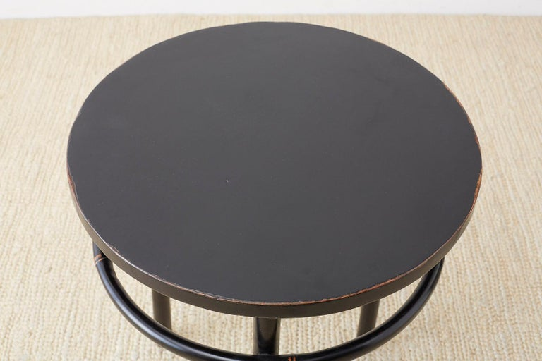 Pair of Midcentury Ebonized Bamboo Round Drinks Table For Sale 3