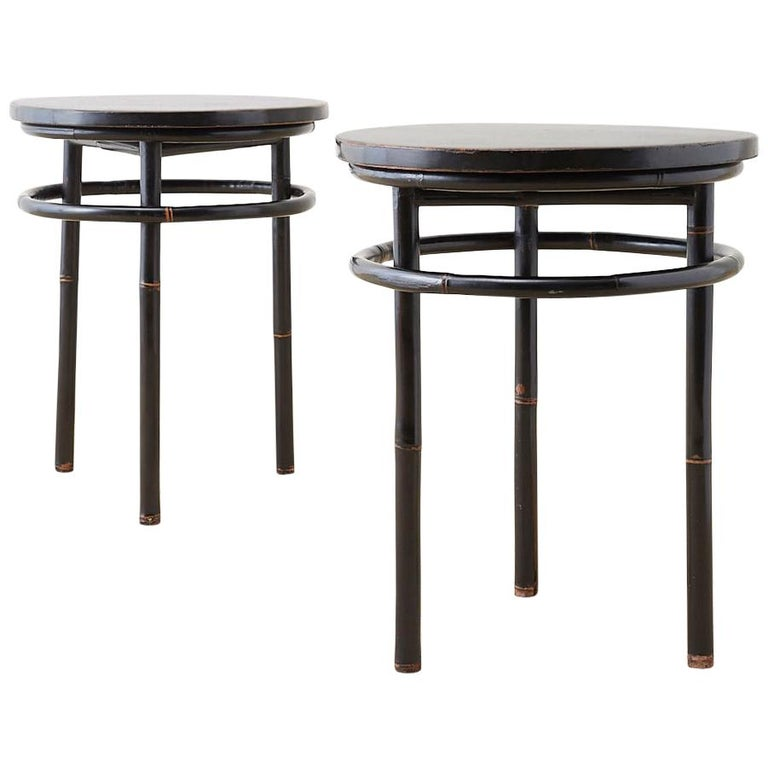 Pair of Midcentury Ebonized Bamboo Round Drinks Table For Sale