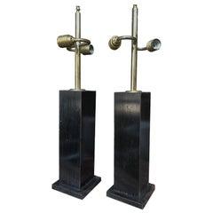 Pair of Mid-Century Ebonized Wood Table Lamps