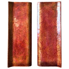Set of Mid-Century Enamel Door Handles in Pink Burnt-Orange & Gold Tones, Italy