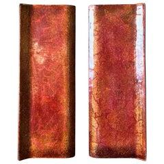 Pair of Midcentury Enamel Door Handles in Pink Burnt-Orange & Gold Tones, Italy