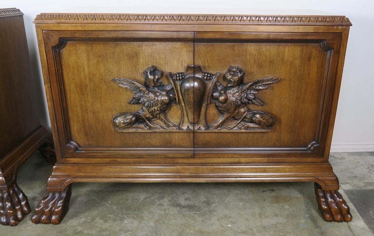 Charles II Pair of Midcentury English Carved Lion Paw Cabinets For Sale