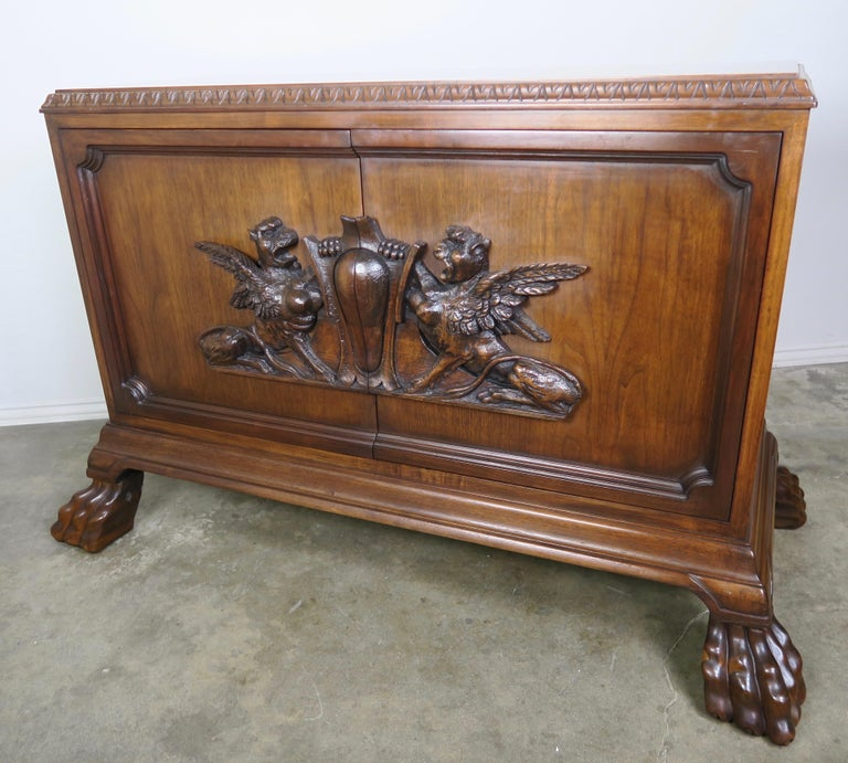 Pair of Midcentury English Carved Lion Paw Cabinets In Good Condition For Sale In Los Angeles, CA