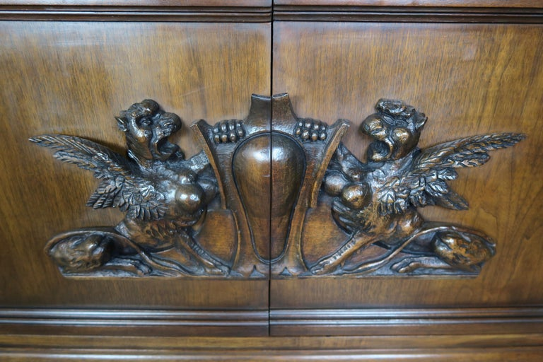 Pair of Midcentury English Carved Lion Paw Cabinets For Sale 3