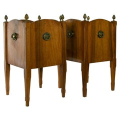 Pair of Mid-Century English Louis XVI Style Walnut Cachepots or Planters
