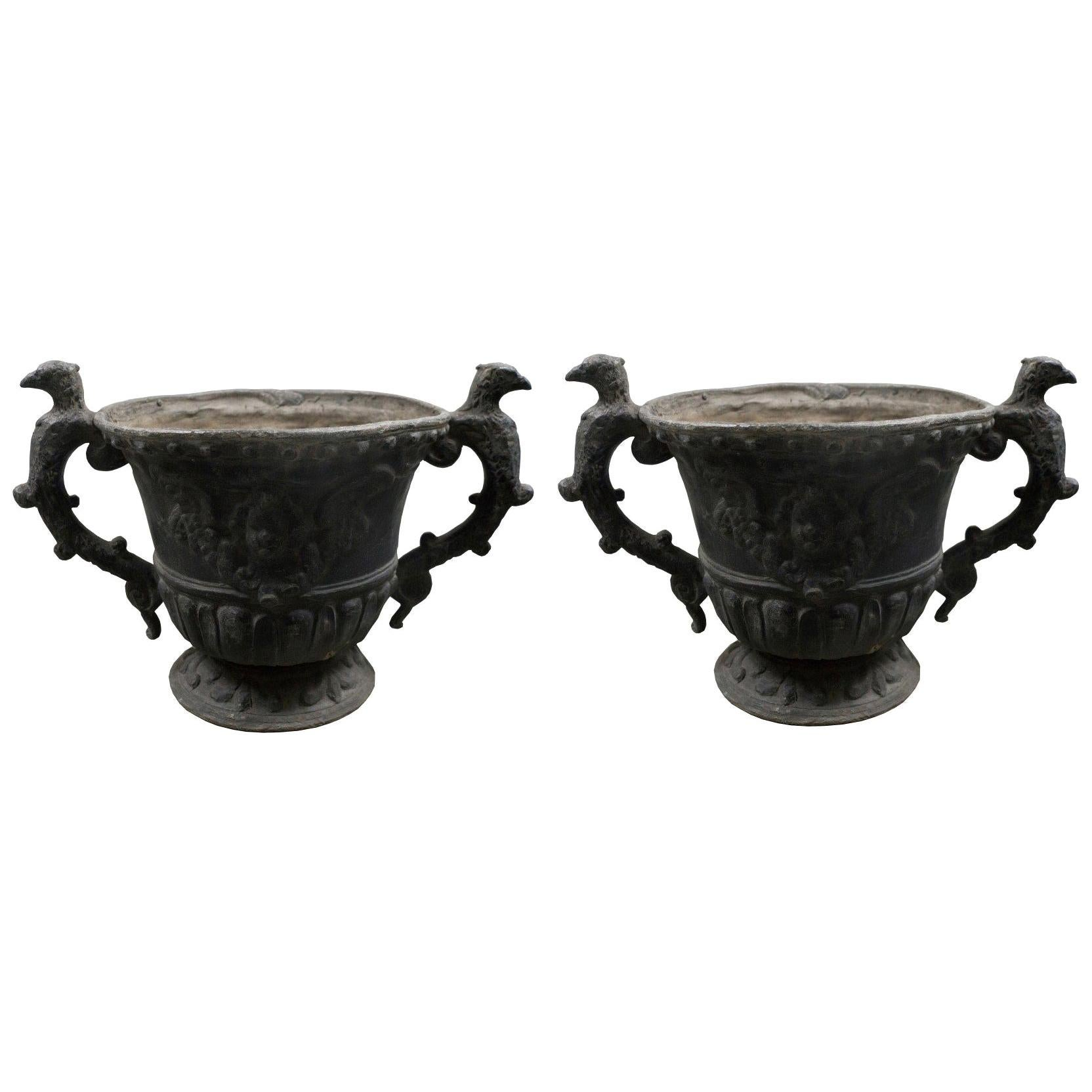 Pair of Midcentury English Round Lead Planters with Handles