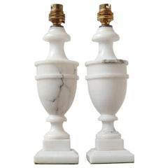 Pair of Mid-Century English White Marble Table Lamps