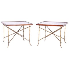 Pair of Midcentury Faux Bamboo Mirror Top Side Tables