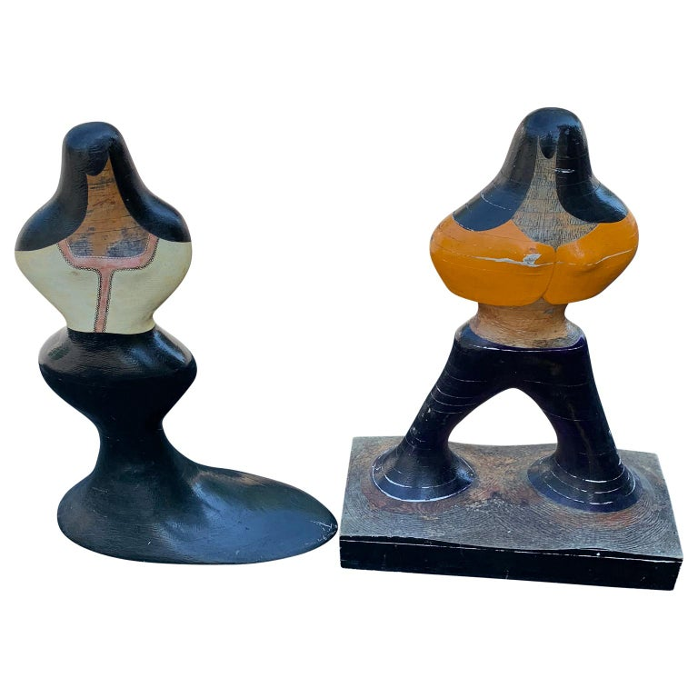 Pair of Mid-Century Figurative Sculptures of Woman and Man in Painted Wood For Sale 3