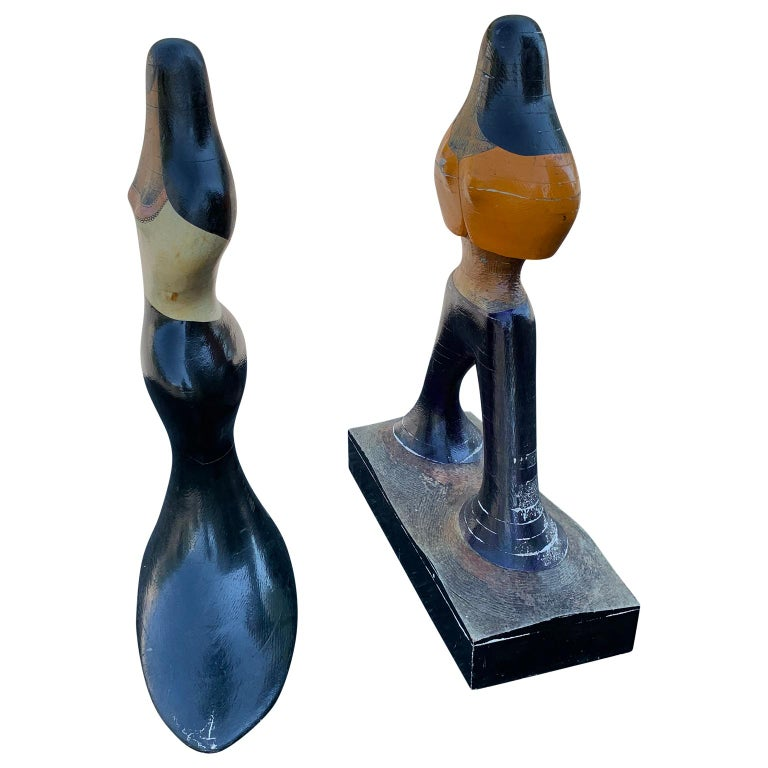 20th Century Pair of Mid-Century Figurative Sculptures of Woman and Man in Painted Wood For Sale
