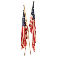 Pair of Midcentury Folk Art American Flags on Poles