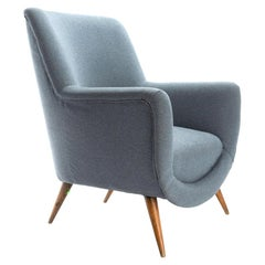 Pair of Midcentury French Armchairs in Gray Fabric from Mecox Gardens