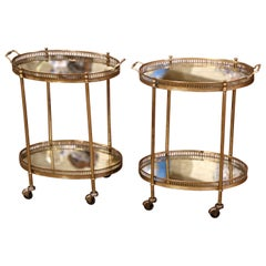 Pair of Mid-Century French Brass and Mirrored Two-Tier Service Bar Carts