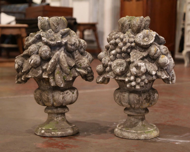 Hand-Carved Pair of Midcentury French Carved Weathered Outdoor Vases with Fruit Decor For Sale