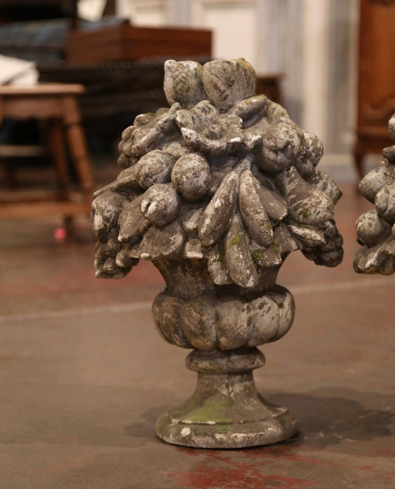Pair of Midcentury French Carved Weathered Outdoor Vases with Fruit Decor In Excellent Condition For Sale In Dallas, TX