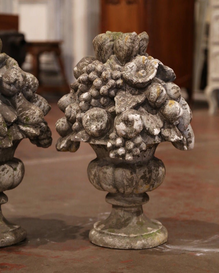 20th Century Pair of Midcentury French Carved Weathered Outdoor Vases with Fruit Decor For Sale