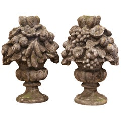 Pair of Midcentury French Carved Weathered Outdoor Vases with Fruit Decor