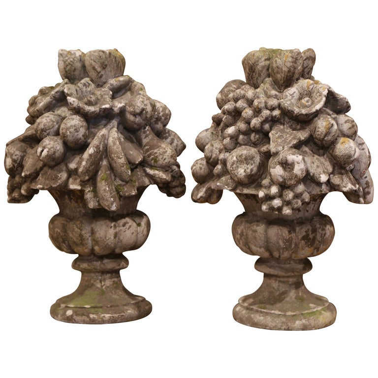 Pair of Midcentury French Carved Weathered Outdoor Vases with Fruit Decor For Sale