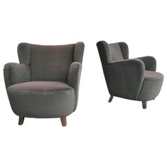 Pair of Midcentury French Club Chairs in Brown Eggplant Glow Velvet