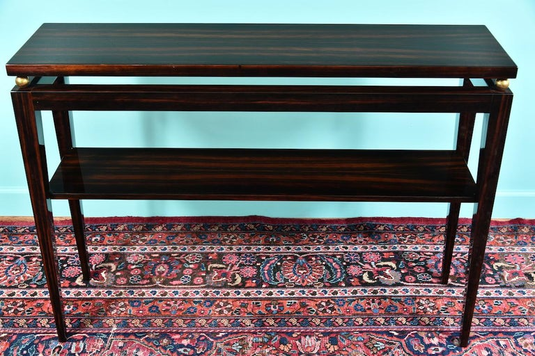Midcentury French Console in Macassar In Excellent Condition For Sale In Houston, TX