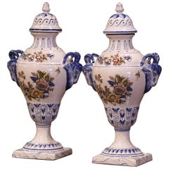 """Pair of Mid-Century French Hand Painted Faience """"Saint Clement"""" Urns with Lids"""