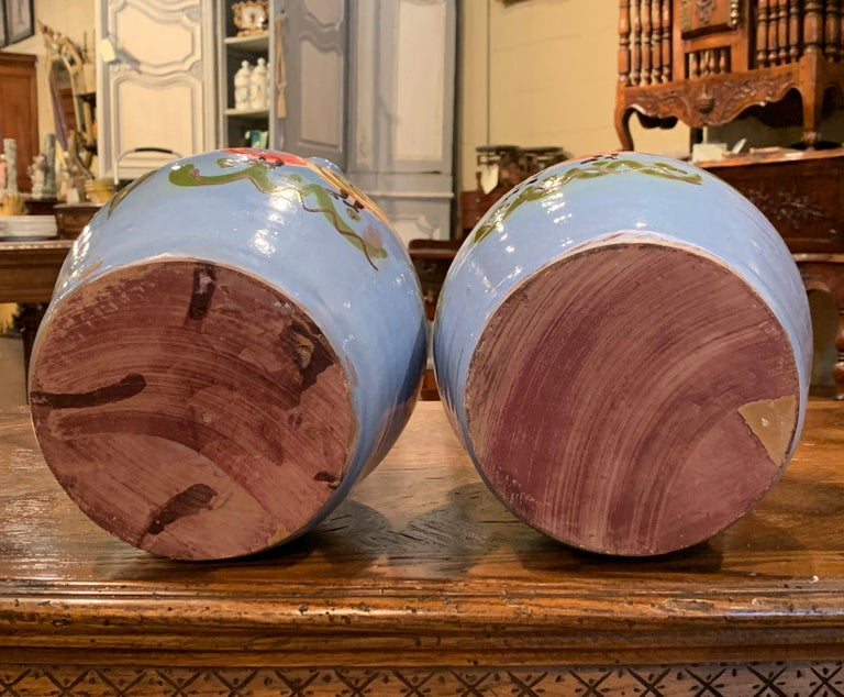 Pair of Midcentury French Hand Painted Terracotta Pitchers from Normandy For Sale 6
