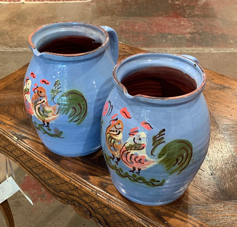 Hand-Painted Pair of Midcentury French Hand Painted Terracotta Pitchers from Normandy For Sale