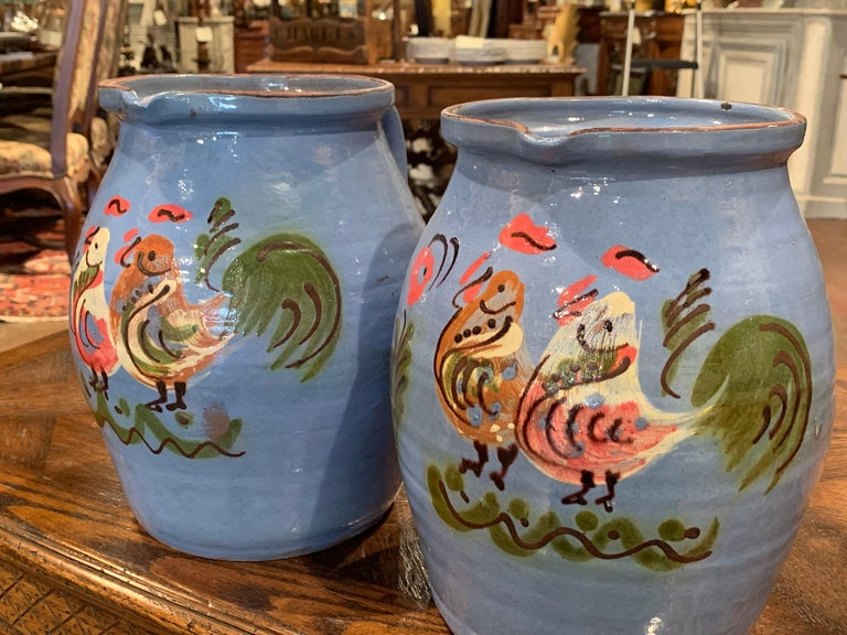 Pair of Midcentury French Hand Painted Terracotta Pitchers from Normandy In Excellent Condition For Sale In Dallas, TX
