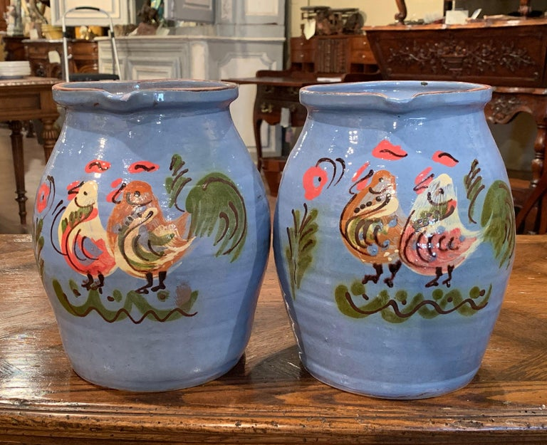 20th Century Pair of Midcentury French Hand Painted Terracotta Pitchers from Normandy For Sale