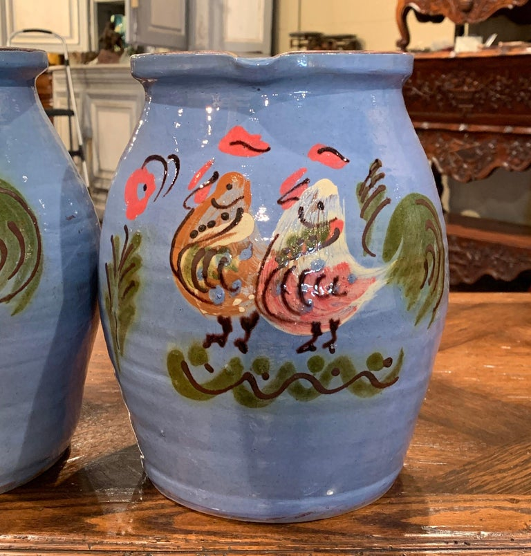 Pair of Midcentury French Hand Painted Terracotta Pitchers from Normandy For Sale 2