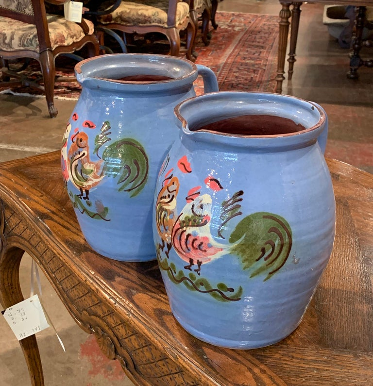 Pair of Midcentury French Hand Painted Terracotta Pitchers from Normandy For Sale 3