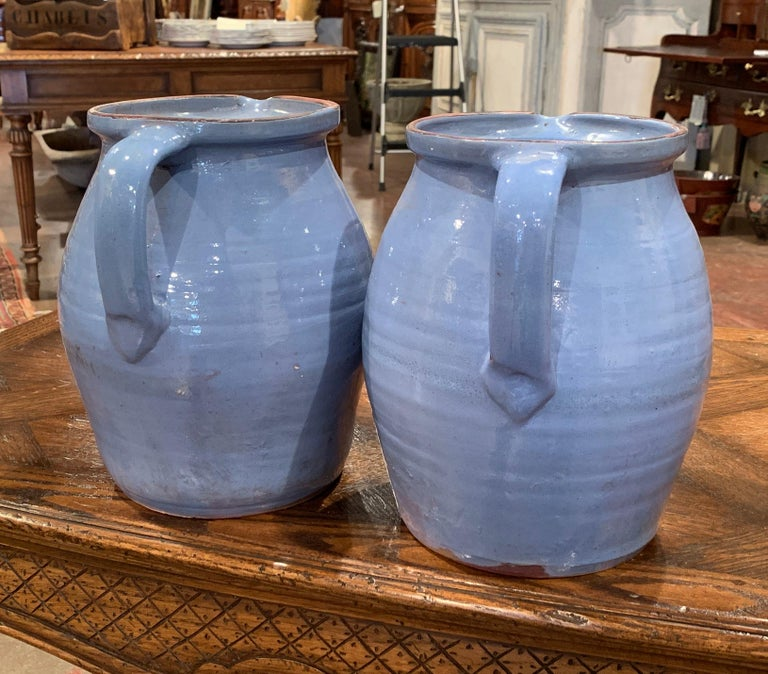Pair of Midcentury French Hand Painted Terracotta Pitchers from Normandy For Sale 4
