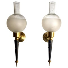 Pair of Midcentury French Lacquered Metal and Brass Wall Sconces, 1950