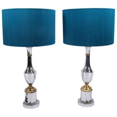 Pair of Midcentury French Large Chrome Table Lamps
