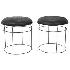 Pair of Midcentury French Leather Top Wire Stools