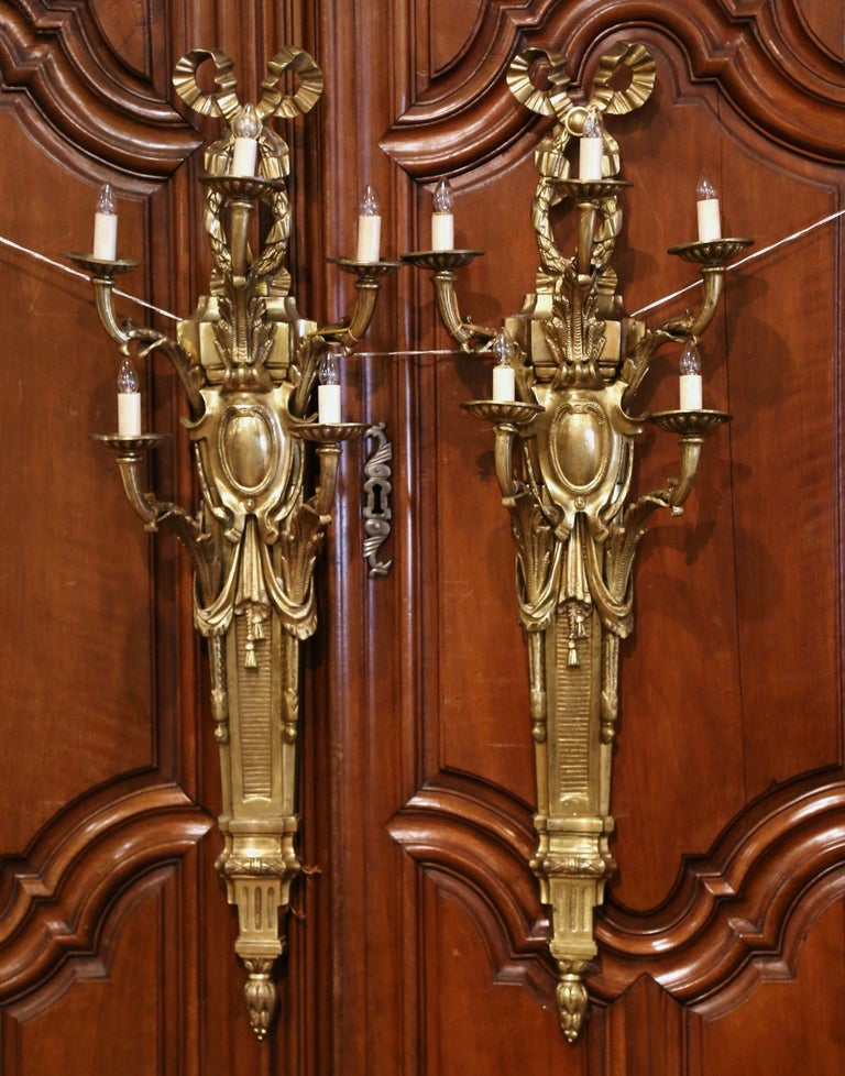 Gilt Pair of Mid-Century French Louis XVI Bronze Dore Five-Light Wall Sconces For Sale