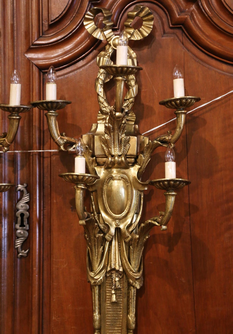 20th Century Pair of Mid-Century French Louis XVI Bronze Dore Five-Light Wall Sconces For Sale