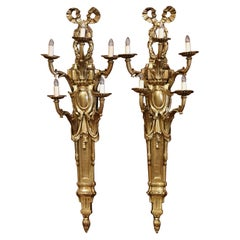 Pair of Mid-Century French Louis XVI Bronze Dore Five-Light Wall Sconces