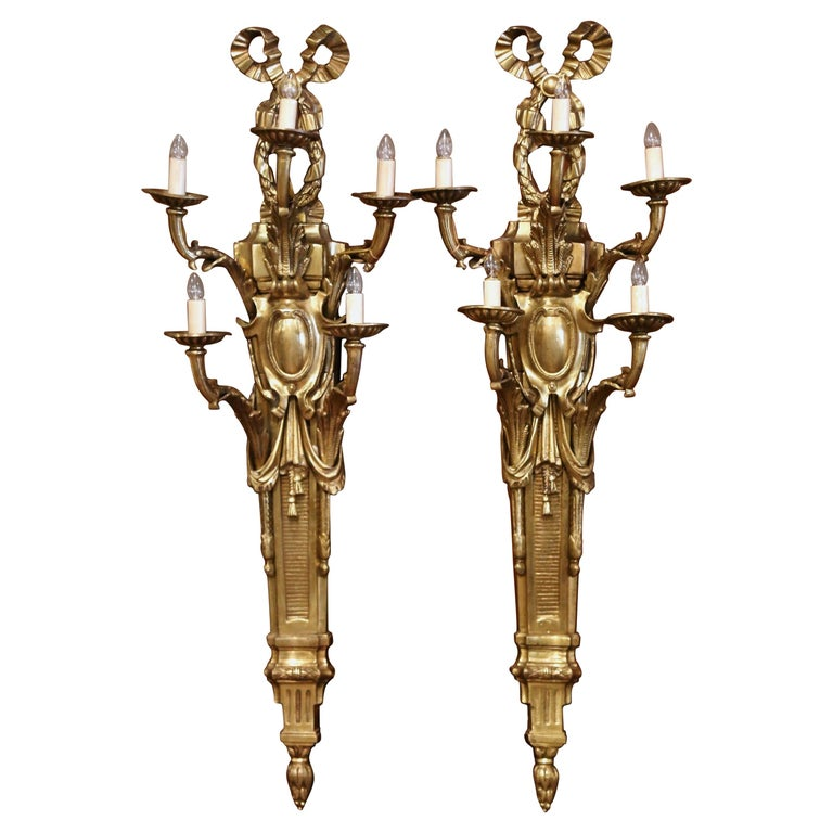 Pair of Mid-Century French Louis XVI Bronze Dore Five-Light Wall Sconces For Sale