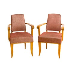 Pair of Mid Century French Sycamore Armchairs in the Manner of Andre Arbus