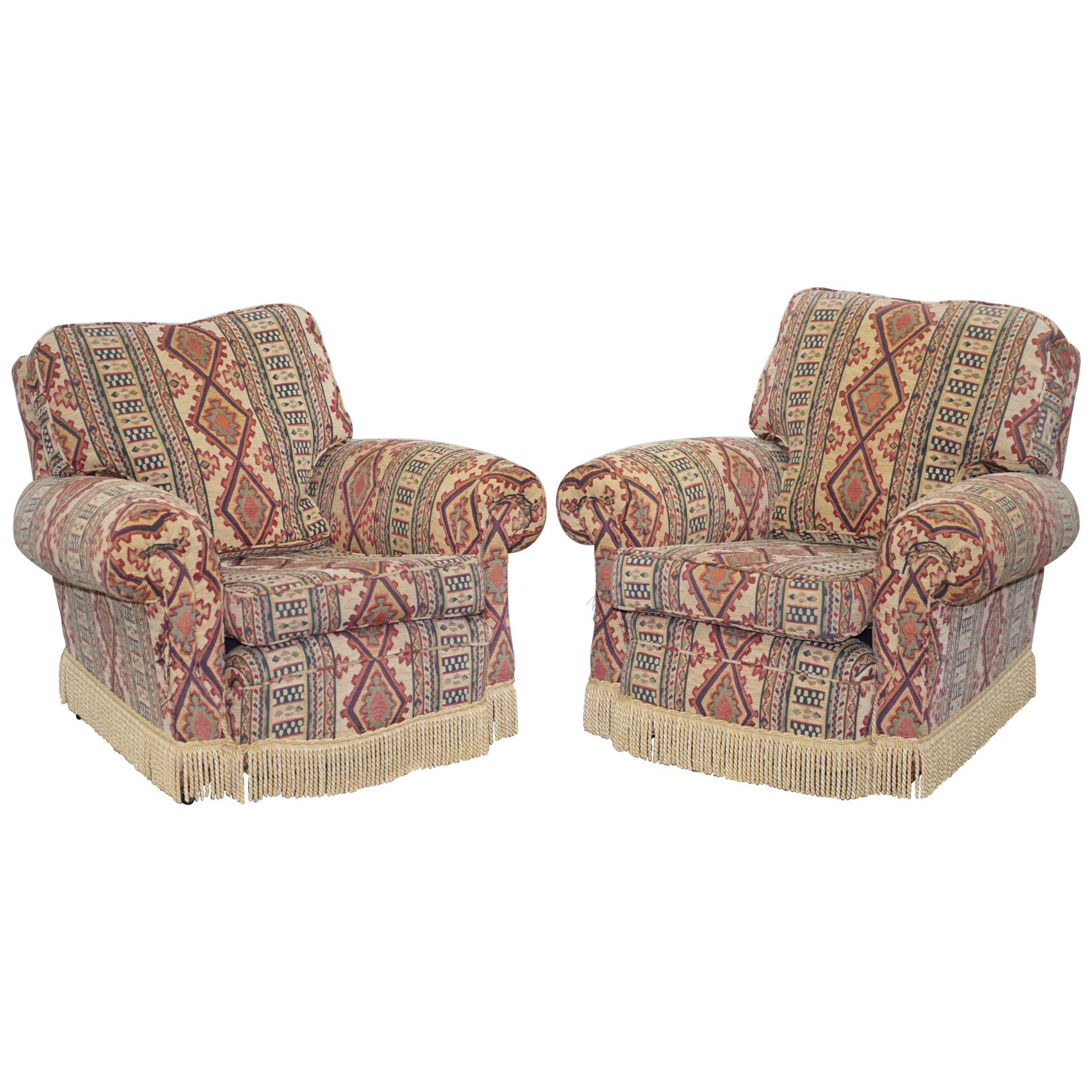 Pair of Midcentury Fully Sprung Art Deco Style Kilim Rug Upholstered Armchairs